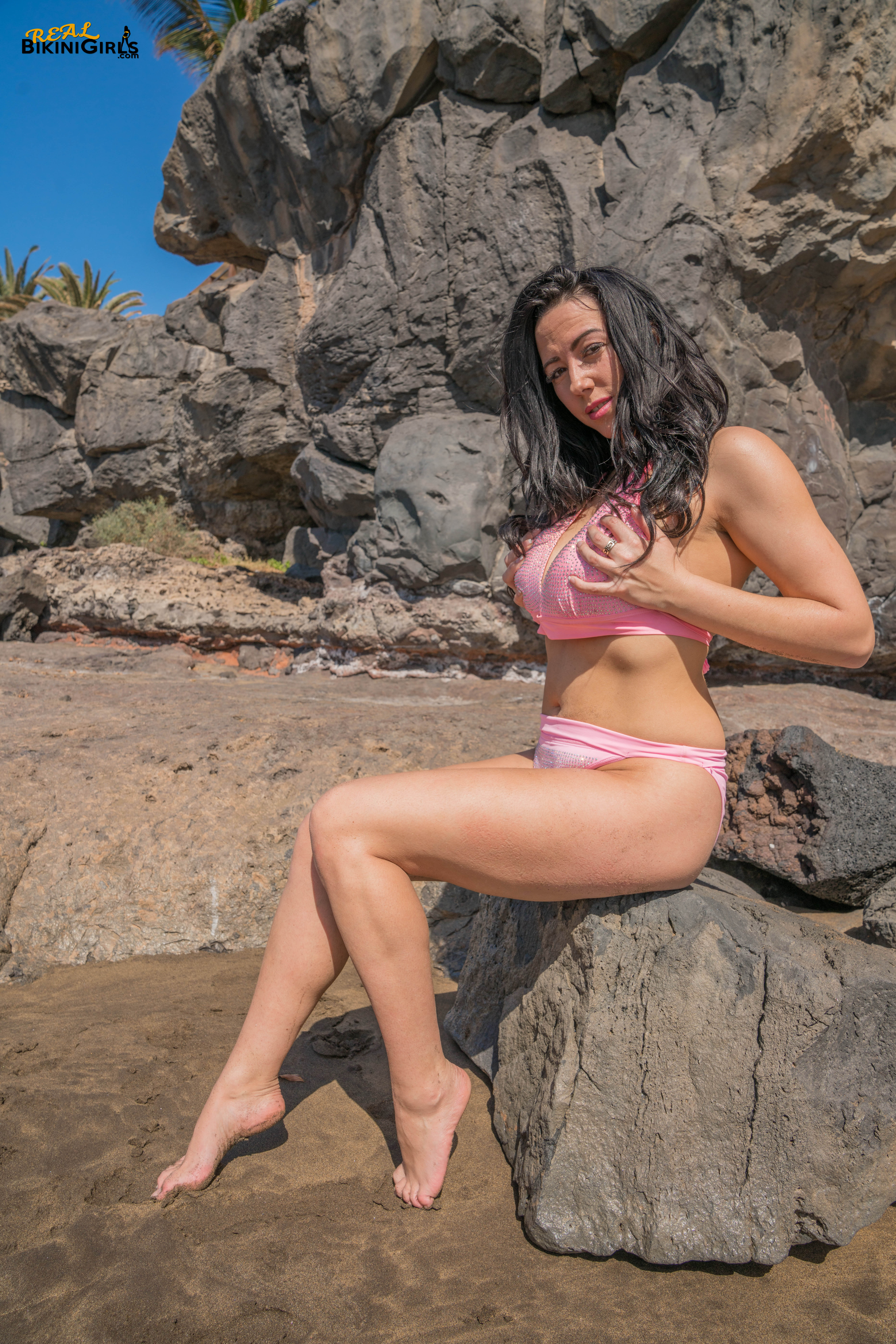 Pink Sparkly Cleavage Free Bikini Photos From